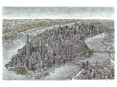 Aerial view of Manhattan Skyline 2011.  Drawn entirely from memory.