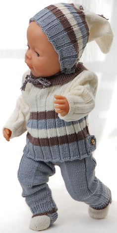 Knitting patterns for dolls clothes Baby Born Clothes, Boy Doll Clothes, Knitting Dolls Clothes, Knitted Dolls, Doll Clothes Patterns, Crochet Dolls, Doll Patterns, Knitted Baby, Baby Knitting Patterns