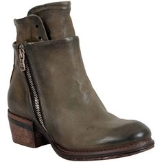 A.S.98 Women's Cadmus Motorcycle Boot (6,255 MXN) ❤ liked on Polyvore featuring shoes, boots, moss, leather upper boots, side zipper boots, mid-heel shoes, side zipper motorcycle boots and sexy shoes