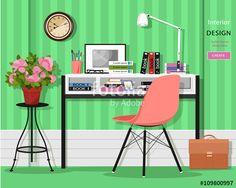 ベクター: Cute grahic home office room interior with desk, chair, lamp, books, bag and flowers. Flat style vector illustration点