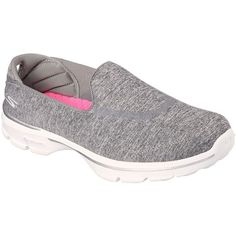 Skechers Women's Reboot Sneakers ($45) ❤ liked on Polyvore featuring shoes, sneakers, grey, round toe shoes, skechers trainers, slip-on sneakers, slip on trainers and skechers shoes