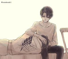 """aurieackerman: """" Veteran Levi and Sergeant Eren. Artist: Lena_レナ 
