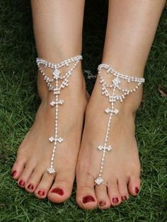 Shop Silver Rhinestone Bar Toe Barefoot Sandals from choies.com .Free  shipping Worldwide. 3.99 26ceb346a007