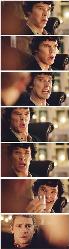 Interactions between Sherlock and Watson--the way people laugh at my facial expressions makes me wonder if I look like this at times...