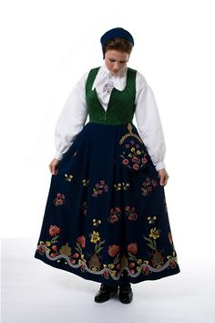 """""""Grafferbunad"""" with green damask waist and blue embroidered skirt from Lom, Gudbrandsdalen, Oppland, Norway (I think the damask waist have more color options, and i think you can have the skirt in black) Folk Costume, Costumes, Traditional Dresses, Vintage Photos, Norway, Bridal Dresses, Textiles, How To Wear, Clothes"""
