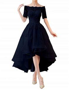 Kevins Bridal High Low Prom Dresses Sleeves Off Shoulder Bridesmaid Dress Appliques Black Size 4 High Low Prom Dresses, Prom Party Dresses, Women's Dresses, Cute Dresses, Beautiful Dresses, Short Dresses, Fashion Dresses, Party Gowns, Off Shoulder Bridesmaid Dress