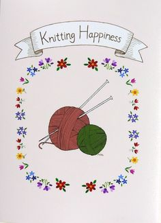 Knitting Happiness Illustration Print Knitting Yarn by mikaart