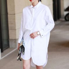 Cali White Poplin Shirt dress