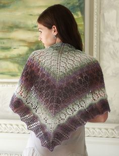 Elegance is the watch word for the gorgeous Evening Shadows Shawl.  Delicate lacework characterizes this charming shawl.  Knitters will enjoy the modest challenge posed by this lace pattern.