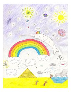 Unicorn narwhal print Whale Art Kid Art Narwhal by sketchscratch