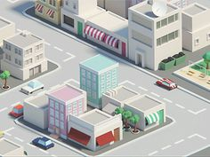 Low poly city (animation) designed by Mohamed Chahin. Connect with them on Dribbble; Flat Design, 3d Design, Game Design, Design City, Vector Design, Isometric Map, Isometric Design, Low Poly Games, City Model