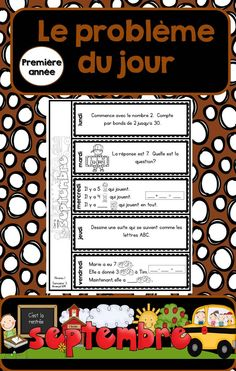 Le problème du jour: First Grade French Math Word Problem of the day (September) French Teaching Resources, Teaching French, 1st Grade Math, First Grade, Grade 1, Classroom Fun, French Classroom, Math Patterns, French Education