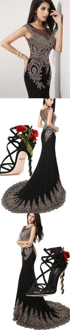 prom dress, 2016 prom dress, black prom dress, mermaid prom dress, evening dress, graduation dress, party dress