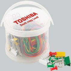 Stationery Pail -- Stationery Pail - plastic stationery pail containing all the office necessities: 15 - 19mm binder clips, 100 - 28mm vinyl paper clips, 80 - push pins and 80 - rubber bands in assorted colors. 275 pieces total. Re-usable bucket with lid and handle. Appreciate an employee with this gift, use as a memorable tradeshow giveaway or a great summer time item.