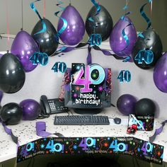 The Party Continues 40 Cubicle Kit 40th Birthday, It's Your Birthday, Birthday Pranks, Birthday Ideas, Cubicle Birthday Decorations, Desk Decorations, Decorate Desk At Work, Cubical Ideas, Office Cube