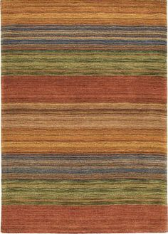 Wonderful muted striped rug. Terracotta, plums, rusts, golds. Perfect for Mexican covered patio