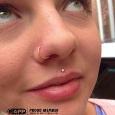 Georgia Stopped In Today To Have Her Philtrum Piercing Downsized With This Beautiful 14k Gold Prong Set Gem From Body Vision Los Angeles. We...