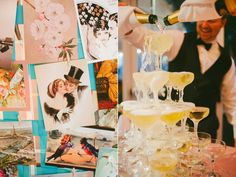 Champagne tower & vintage pictures