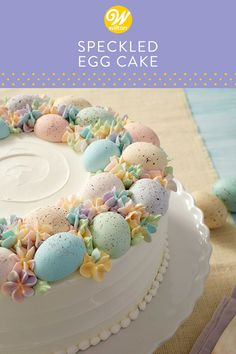 Easter Egg Cake - Speckled Egg Statement Cake Soft pastel colors make this springtime cake just as beautiful as it is delicious. Simple and classic, this lovely spring cake is sure to be the crowning touch to your Easter brunch. Easter Egg Cake, Easter Cupcakes, Easter Food, Mini Cakes, Cupcake Cakes, Cupcake Ideas, Speckled Eggs, Spring Cake, Holiday Cakes