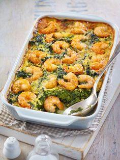 Spinach and shrimp casserole - Low Carb-Rezepte - Dinner Recipes Shrimp Recipes For Dinner, Shrimp Recipes Easy, Easy Healthy Recipes, Fish Recipes, Seafood Recipes, Juice Recipes, Meat Recipes, Drink Recipes, Chicken Recipes