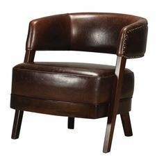 This handsome Bethany Hill Leather & Walnut Open Back Barrel Chair by Sterling features a high half round back with nail head trim and a large cushioned seat for extra comfort https://joyfulhomegoods.com/collections/chairs/products/sterling-industries-bethany-hill-leather-walnut-open-back-barrel-chair-by-133-009?variant=20310340807 Free gift for our Pinterest fans! $5 gift card, use code PIN5 to redeem!