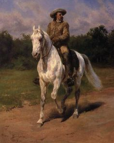 William 'Buffalo Bill' Cody is a Realist Oil on Canvas Painting created by Rosa Bonheur in It lives at the Buffalo Bill Center of the West in the United States. The image is in the Public Domain, and tagged Horses. Buffalo Bill, Arte Equina, Female Painters, Cowboy Art, Classical Art, Equine Art, Western Art, Cowboy Western, Horse Art