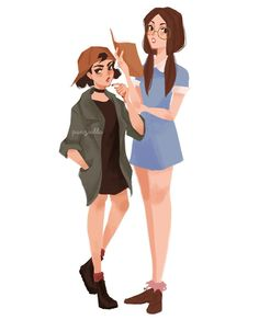 """Fan art of Gretchen Grundler and Spinelli from the 1997-2001 Disney animated television series, """"Recess"""". 