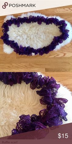 Ruffle scarf Long infinity ruffle scarf with metallic purple threads. NWOT. Etsy Accessories Scarves & Wraps