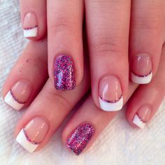 French manicure with glitter accent nails in gelish