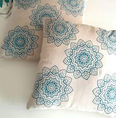 Handprinted pillow mandala