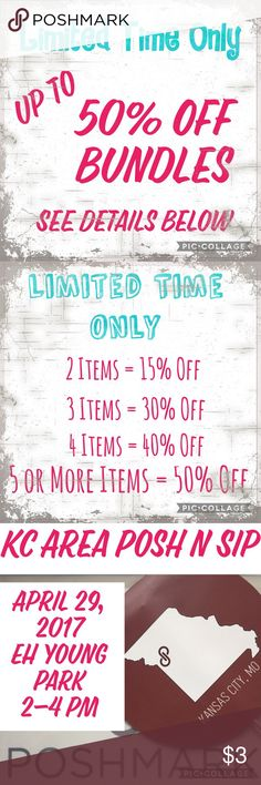 Create a Bundle for a Discount up to 50% Off! Get up to 50% Off Bundles: 2 Items = 15% Off 3 Items = 30% Off 4 Items = 40% Off 5 or More Items = 50% Off Just send me an offer! Some brands include: Miss Me, Michael Kors, Kate Spade, Banana Republic, J. Crew, Citizens of Humanity, Free People, Anthropologie, Urban Outfitters, Ann Taylor, Nike, Nine West, Maggy London, Esley, Express, White House Black Market, H&M, Loft, Ann Taylor, Converse, Old Navy, GAP, Zara, Asos, Tops