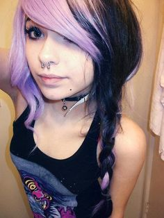 Half lavender purple half black braided hair