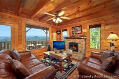 A living room partly in the sky, in the Smoky Mountains - luxury cabin, Havens at Hedgewood Smoky Mountain Cabin Rentals, Smoky Mountains Cabins, Pigeon Forge Cabins, Rental Property, Great View, Sweet Home, Real Estate, House Styles, Vacation Rentals
