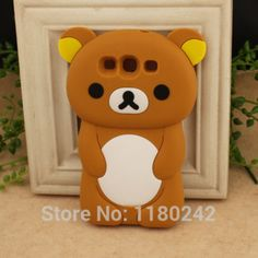 3D Rilakkuma Bear Brown Silicone Cover Phone Case For Samsung i9300 Galaxy S III S3 Free Shipping