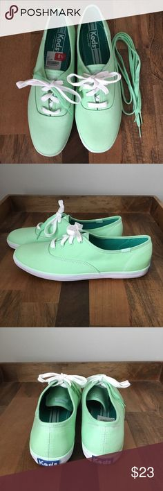 Keds Women's Sneakers Keds Women's light green sneakers. These sneakers fit true to size. They come with an extra pair of shoelaces. These sneakers have never been worn and are brand new. These are the most comfortable sneakers you will ever own. You can wear them all day! Make me an offer if you are interested. Keds Shoes Sneakers