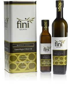 FINI OLIVE OIL - clean simple, modern. Good use of color for EVOO