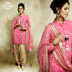 Fuchsia Pink And Gold Embroidered Patiala Suit