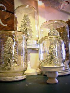 mason jar snow globes...  Dreaming of a White Christmas?