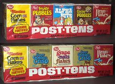 """Post-Tens assorted cereals.  I loved vacations, because that was the only time we got this special treat. If you tore along the dotted line, the boxes became bowls. Add a plastic spoon and you had a """"disposable"""" breakfast!"""