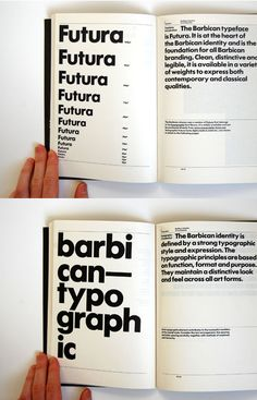 I've been drooling over this Flickr set featuring a bunch of photos of the gorgeous Barbican Identity Guidelines book designed by North. Well done. Update Some posted a link to the downloadable PDF...