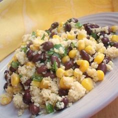 Mayan Couscous Allrecipes.com // use bouillon or chicken broth instead of plain water; frozen corn works the same; NO jalepeno for me!