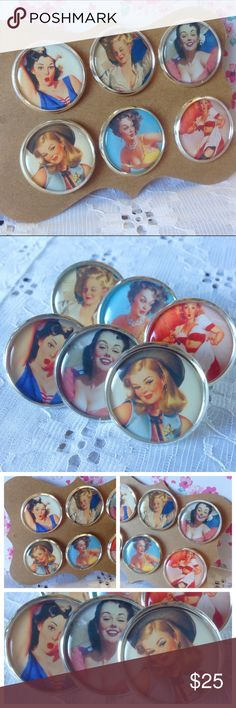 Vintage Pinup Girl Brooch Bundle💋✨ This listing is for all 6 brooches! Wear these lovely ladies with pride on your cardigan or sweater! Each one is a different image of a classic pin up girl. Images are sealed & protected with resin and then mounted to silver metal frames. Pins are securely attached to the backs for easy pinning. Handmade by me & brand new. These are quite lovely quality and the pictures really pop!💋Price is firm unless bundled. Bundle & save 15% on 3+ items✨Tags: retro…
