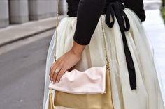 Pink and Gold clutch with ballerina wrap sweater details and tulle skirt