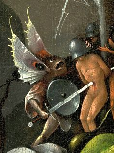 Hieronymus Bosch, The Garden of Earthly Delights Right Panel, Detail Butterfly Monster; Hieronymus Bosch, Jan Van Eyck, Robert Campin, Temptation Of St Anthony, Garden Of Earthly Delights, Dutch Painters, Classical Art, Fantastic Art, Painting & Drawing