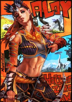 abs absurdres aloy (horizon) arm guards arrow beads bow (weapon) character name copyright name eyeshadow freckles green eyes hair slicked back head tilt headdress highres horizon zero dawn looking at viewer makeup midriff monori rogue navel one eye c Game Character, Character Concept, Character Design, Horizon Zero Dawn Cosplay, Horizon Zero Dawn Wallpaper, Horizon Zero Dawn Aloy, Conceptual Drawing, V Games, Sci Fi Characters