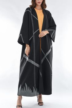 Black designer Bisht-style Abaya featuring an intricate contrast embroidery in geometric pattern. The black Abaya by posh comes with shila. Abaya Fashion, Muslim Fashion, Modest Fashion, Fashion Dresses, Pakistani Dress Design, Pakistani Dresses, Modern Abaya, Gap Outfits, Black Abaya