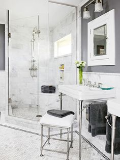 corner shower :-) Choose Three Colors - The rule of three is a great guiding principle for creating a bathroom color scheme. Pick one neutral, one rich color. Grey Bathroom Floor, Light Grey Bathrooms, Black White Bathrooms, Beautiful Bathrooms, Bathroom Flooring, Small Bathroom, Bathroom Ideas, Bathroom Marble, Bathroom Pics