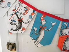 Dr Suess's The Cat in The Hat bunting banner, vintage repurposed children story book, bedroom / birthday garland, gift under 20. $15.00, via Etsy.