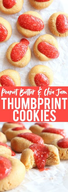 Really fun and delicious gluten free + vegan Peanut Butter + Chia Jam Thumbprint Cookies!! They taste like a PB&J sandwich but BETTER!! thetoastedpinenut.com #vegan #glutenfree #cookies #thumbprintcookies #dessert
