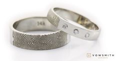 A simple trio! white gold wedding bands, three diamonds for a simple and unique touch.and your beloved fingerprint too! Fingerprint Ring, Wedding Bands, Gold Wedding, Cuff Bracelets, Unique, Diamonds, White Gold, Touch, Simple